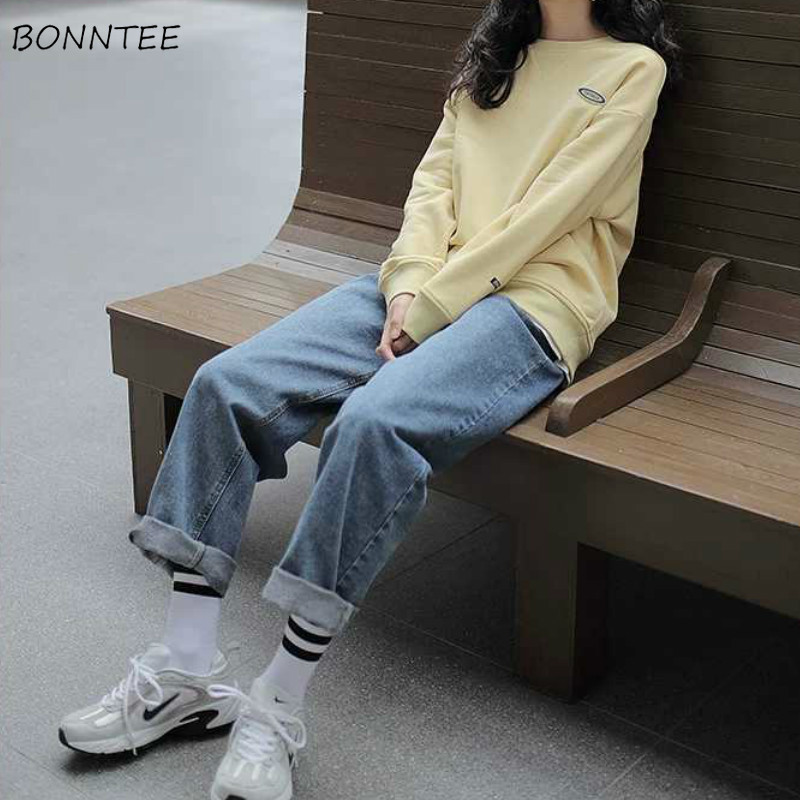 Jeans Women Wide Leg Denim Classic Trousers High Waist Solid Vintage BF Harajuku Oversize 2XL Couples All-match Fashion Korean