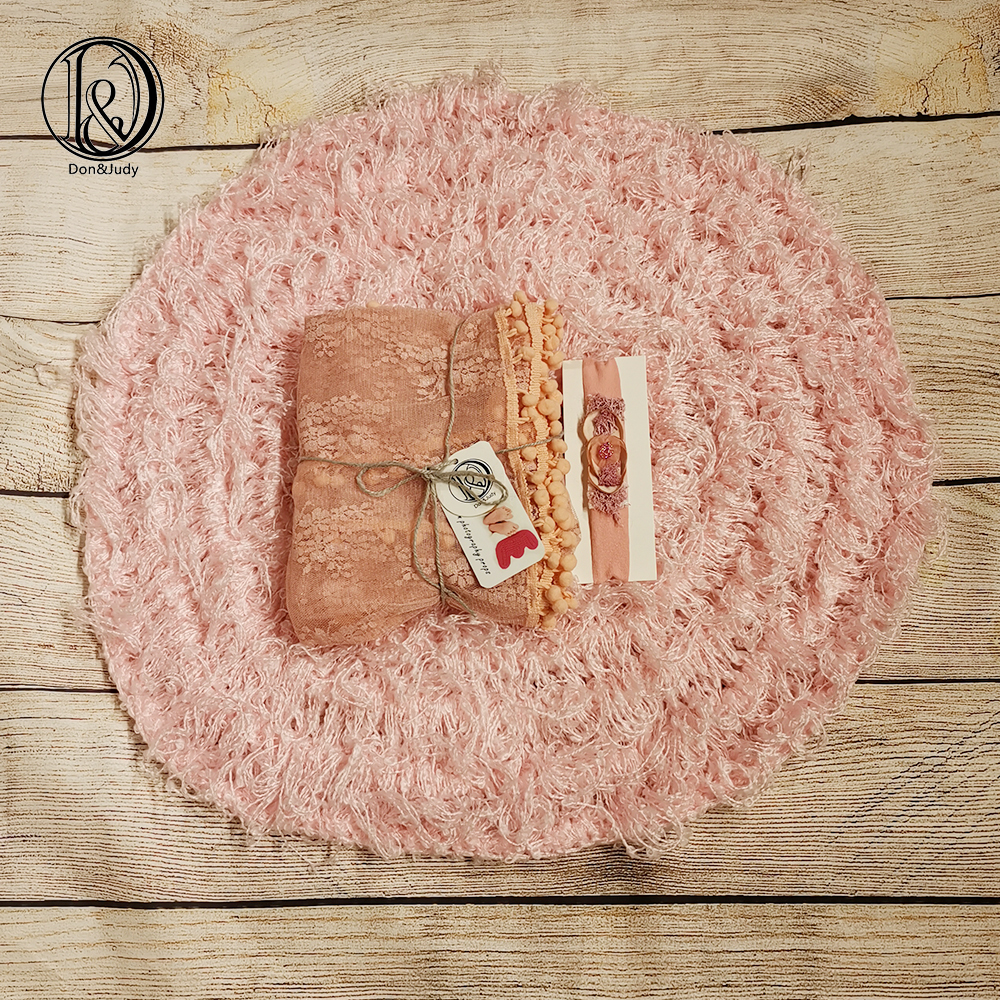Don&Judy Pink Hand Crochet Blanket +Wrap+Headband Newborn Baby Photo Prop Baby Blanket Photography Prop Basket Filler Stuffer