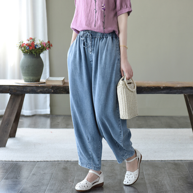 2020 Women Jeans Summer Elastic Waist Loose Casual All-match Denim Pants  New Female Drawstring Pocket Retro Denim Trousers
