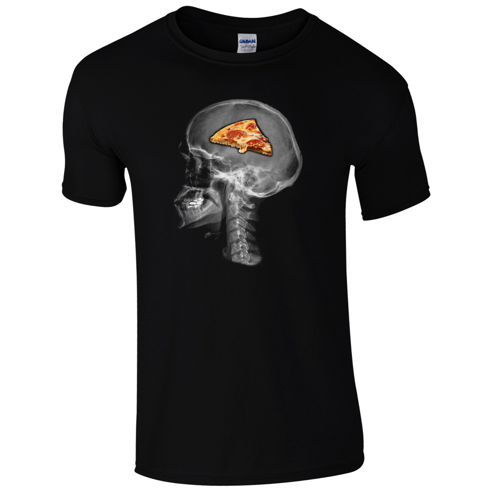 Pizza On The Brain T-Shirt - Funny Skull X-Ray Food Lovers Gift Unisex Mens Top Cool Casual Pride T Shirt Men Unisex Fashion image
