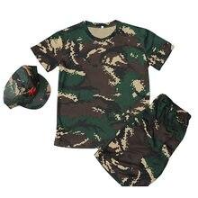 Crianças 3-pcs roupas militares crianças uniforme militar do exército scouting treinamento escolar camuflagem manga curta topos + calças + conjuntos de chapéu