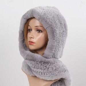 Image 3 - 2020 חדש רוסית נשים רקס ארנב פרווה סלעית צעיפי ליידי חורף חם 100% אמיתי רקס ארנב פרווה כובעי צעיף לסרוג אמיתי פרווה כובעים