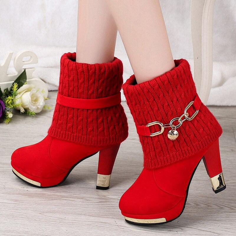 Winter Shoes Woman Boots High Heel Boots Laydies Black Red Botas Mujer Christmas Bota Feminina Plus Size 35-43
