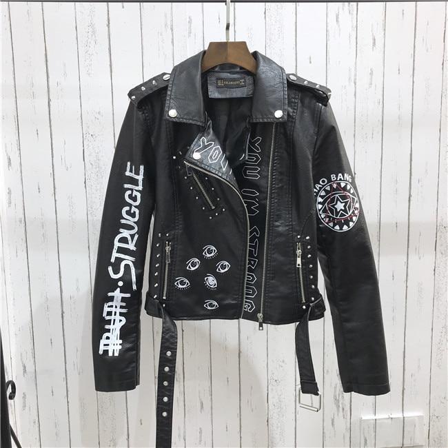 H6414dae2305542caba6a422ea49749dfS 2021 New Autumn Women Winter Faux Soft Leather Jackets Coats Lady Black PU Rivet Zipper Epaulet 3D print Motorcycle Streetwear