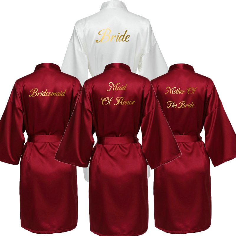 YUXINBRIDAL 2019 New Burgundy Satin Silk Bride Robe Wedding Gift Bridesmaid Bride Dressing Gown Bridal Slippers Gold Print
