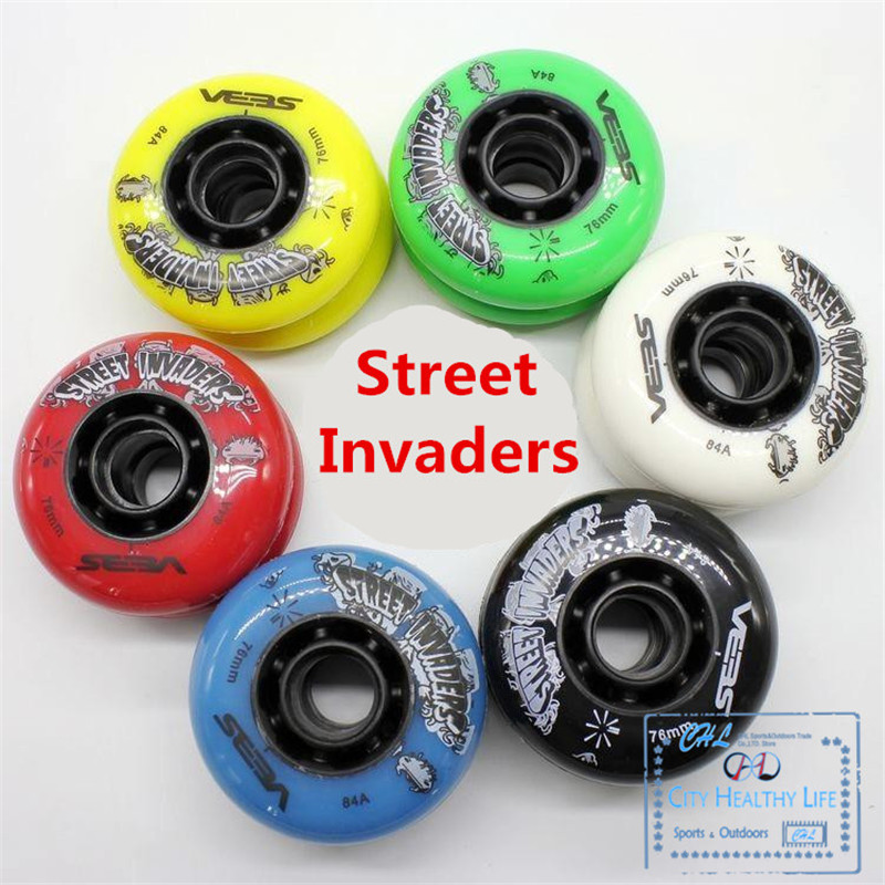 8 Pcs/lot 84A Street Invaders Slalom FSK Inline Skate Wheels For SEBA HV, Yellow Green Blue Red Black White 80mm 76mm 72mm