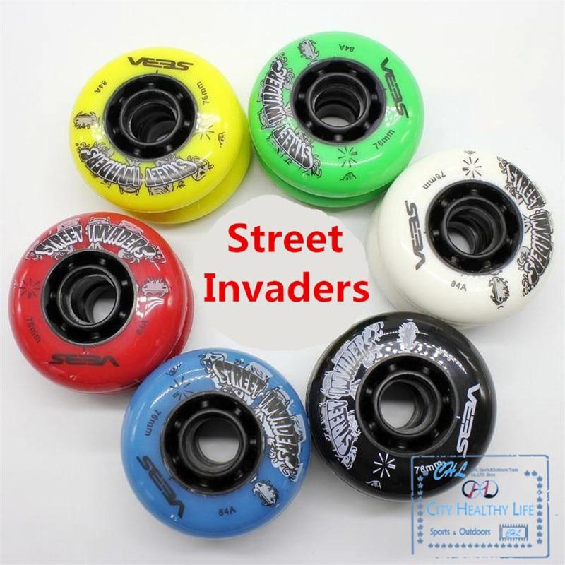8 Pcs/lot 84A Street Invaders Slalom FSK Inline Skate Wheels For SEBA HV, Yellow Green Blue Red Black White 80mm 76mm 72mm