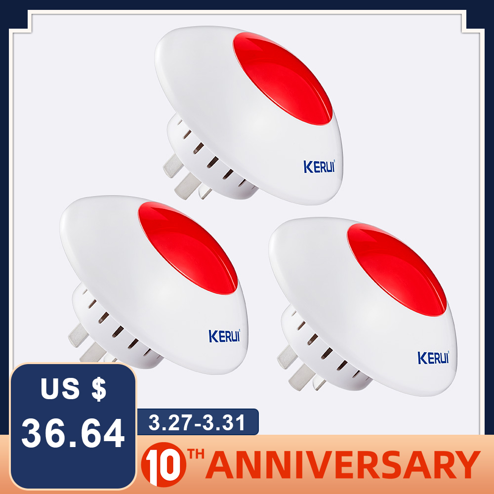 KERUI 3pcs 433MHz Wireless Alarm Siren Flash Horn Red Warning Light Strobe Whistle Siren Suit For KERUI Alarm System
