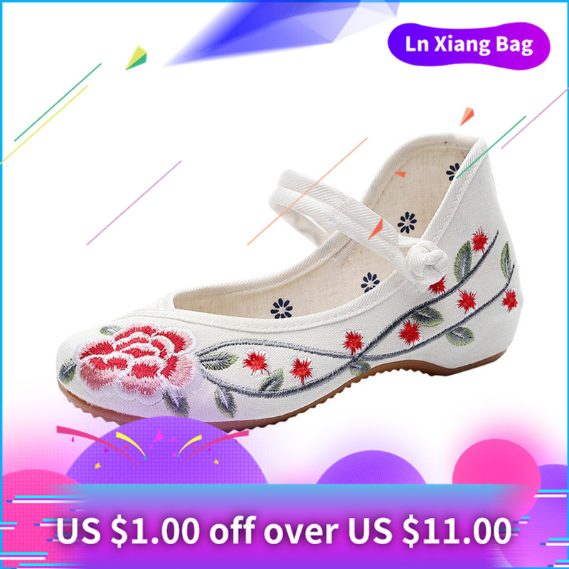 Peize Women Summer Peony Embroidered Buckle Canvas National Wind Ladies Round Head Shoes