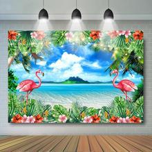 קיץ פלמינגו רקע טרופי פרחי עלים רקע אלוהה הוואי חוף ואאו אירוע מסיבת יום הולדת דקור