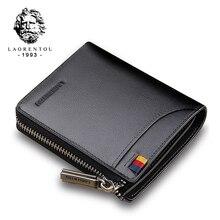 LAORENTOU billeteras de cuero genuino para hombre, tarjetero, monedero corto, billetera con cremallera, billetera informal estándar