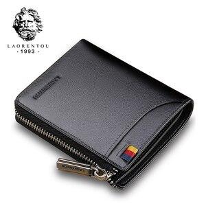 Image 1 - Мужской короткий кошелек LAORENTOU, Черный Повседневный бумажник из натуральной кожи, на молнии, с отделением для монет,