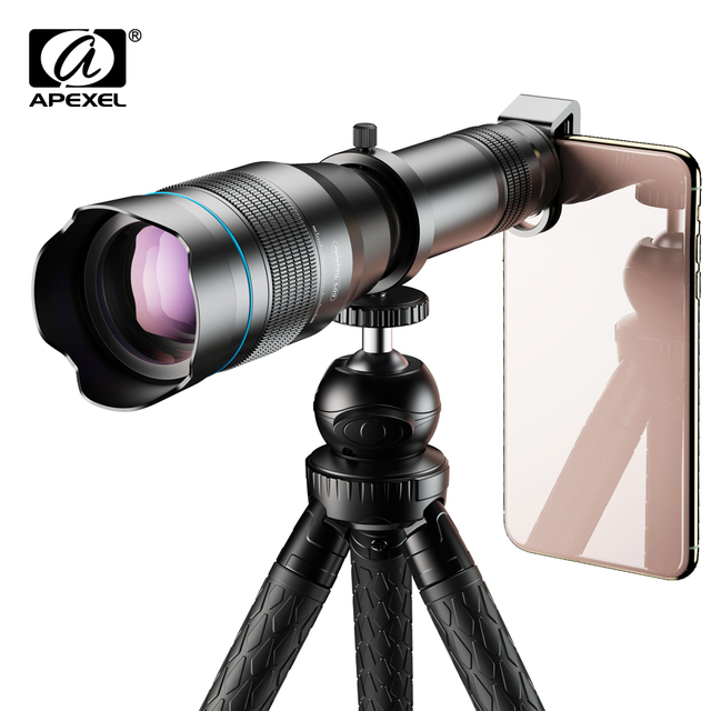 APEXEL Optional HD 60X metal telescope telephoto lens monocular mobile lens+ extendable tripod for iPhone Huawei all Smartphones