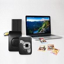 حجم صغير حقيبة كاميرا فورية متوافقة مع فوجي فيلم فوجي Instax mini LiPlay بو الجلود مع حزام الكتف