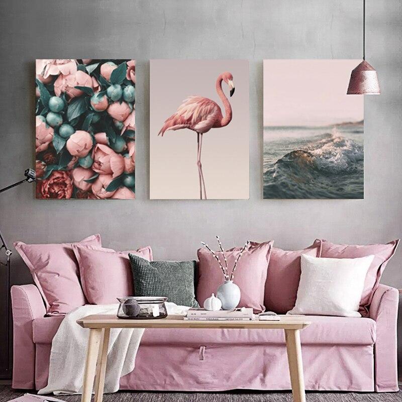 Скандинавская Картина на холсте, романтичный фламинго, роза, морская волна, принт с животными, Современная Настенная живопись, постер, украшение для дома, без рамки|Рисование и каллиграфия| | - AliExpress