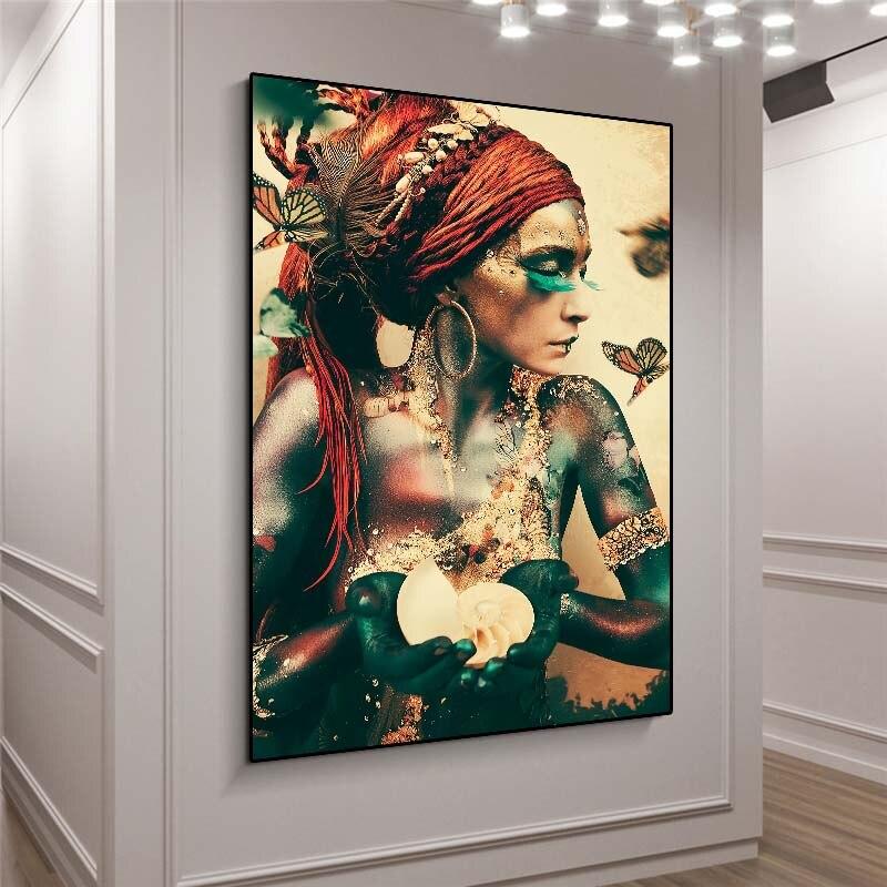 Винтажные постеры в скандинавском стиле, настенные картины, холст с рамкой, картина с изображением вторичной женщины, портрет с бабочкой дл...