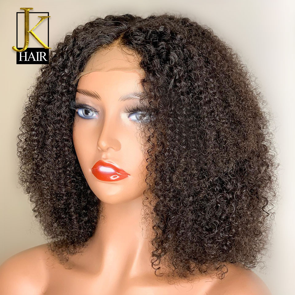 13*4 Brazilian Short Bob Kinky Curly Lace Front Human Hair Wigs Pre Blucked Remy 150 Density Human Wigs For Women Natural Black