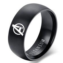 Лидер продаж, кольцо из черного титана 8 мм с логотипом Avenges для мужчин и женщин