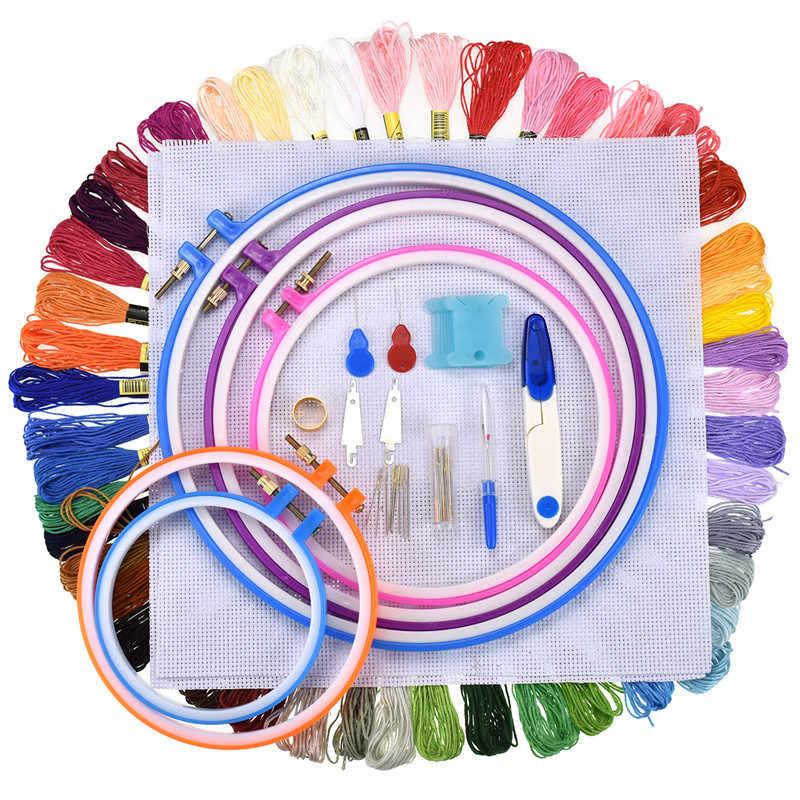 Kit d'accessoires de couture à broderies 50 100 couleurs   Kit d'accessoires de couture au point de croix ajustable, cerceau au point de croix avec tissu Aida pour maman