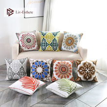 Liv-Esthete 100% Cotton Luxury European Bohemia Embroidery Cushion Cover Decorative Square Pillow For Sofa Bed Car 45x45cm