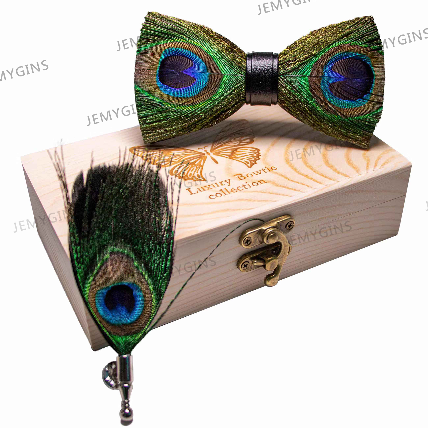 JEMYGINS Original Bow Tie Peacock Feather Handmade Leather Bow Tie Brooch Pine Gift Set Wedding Party Men's Suit Bowtie Necktie
