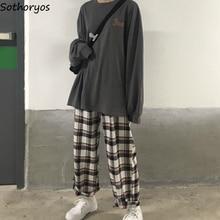 Pyjama Sets 인쇄 된 얇은 일일 Outwear 세련된 유행 긴 소매 여자 한국 스타일 Ulzzang 커플 Kawaii Homewear Loose Elegant