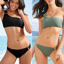 Kobiety jedno ramię dwuczęściowy jednolity kolor moda Bikini Set stroje kąpielowe Backless strój kąpielowy kostiumy kąpielowe zestaw wysokiej jakości tanie tanio NYLON CN (pochodzenie) WOMEN Pasuje prawda na wymiar weź swój normalny rozmiar Stałe Swimsuits Backless Female Swimwear Women Summer Halter High Waist Fitness