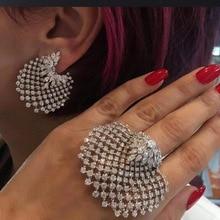 New Luxury Boho Full Rhinestone Gold Silver Shell Earring&Ring Set Statement Crystal Stud Earrings for Women Jewelry Gifts 2019