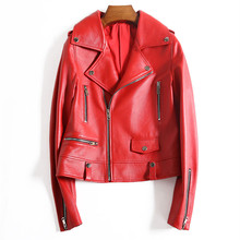 Genuine Leather Jacket Women Natural Real Sheepskin Ladies Coat 2019 Autumn Winter Red Black Slim Soft Outwear Female Plus Size цена