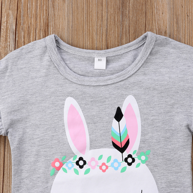 Toddler Girl Clothes 2020 Child Kid Baby Girls Bunny Cartoon Short Sleeves T shirt Top+Floral Skirts 2Pcs Outfits Girl Clothes
