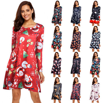 S-5XL Plus Size Christmas Dress Women Long Sleeve O-Neck Print Winter New Year Party Fashion Midi Cartoon Femme Vestidos