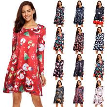 S-5XL Plus rozmiar sukienka świąteczna damska z długim rękawem O-Neck drukuj zimowe przyjęcie noworoczne moda Midi Cartoon Femme Vestidos tanie tanio CN (pochodzenie) Jesień Poliester Lanon A-LINE Osób w wieku 18-35 lat dress women Pełna REGULAR NONE Na co dzień Naturalne