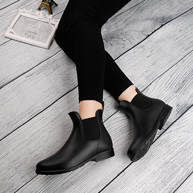 Ankle-Boots Heel Elastic Flat Waterproof Fashion Women Hot PVC No for Short Non-Slip