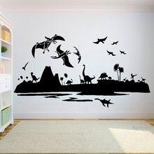 Crianças decoração da parede do dinossauro meninos adesivos de parede do bebê berçário dos desenhos animados arte quarto crianças meninas meninos adolescente decoração c263
