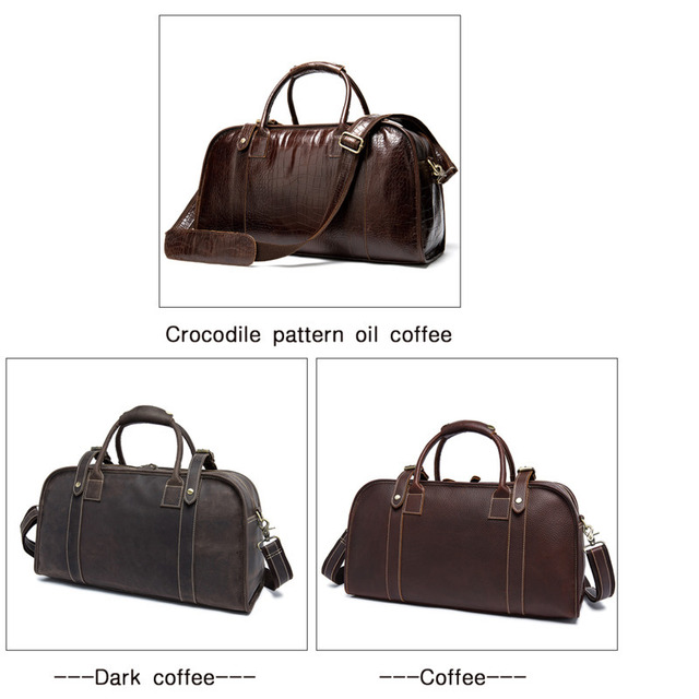 Men's Genuine Leather Travel Bags Hand Luggage Men Suitcases Traveling Bag For Leather Duffle Big Bag Crocodile Bolso De Viaje 4