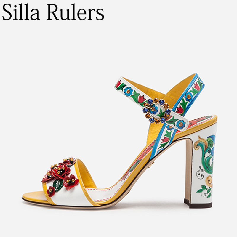 2019 Genuine Leather Coloured Printing Sandals Woman Flower One Strap Square Heels Woman Summer Sandals Ladies Party Shoes-in High Heels from Shoes    1