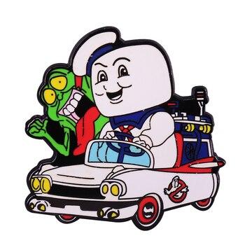Ghostbusters, pin esmaltado de ambulancia, hombre malvavisco y fans Slimer, adición divertida