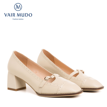 VAIR MUDO 2020 New Brand Genuine Leather Thick Heel Women Pumps Shoes Ladies Summer Heel Women's Shoes Mary Janes Footwear D30L