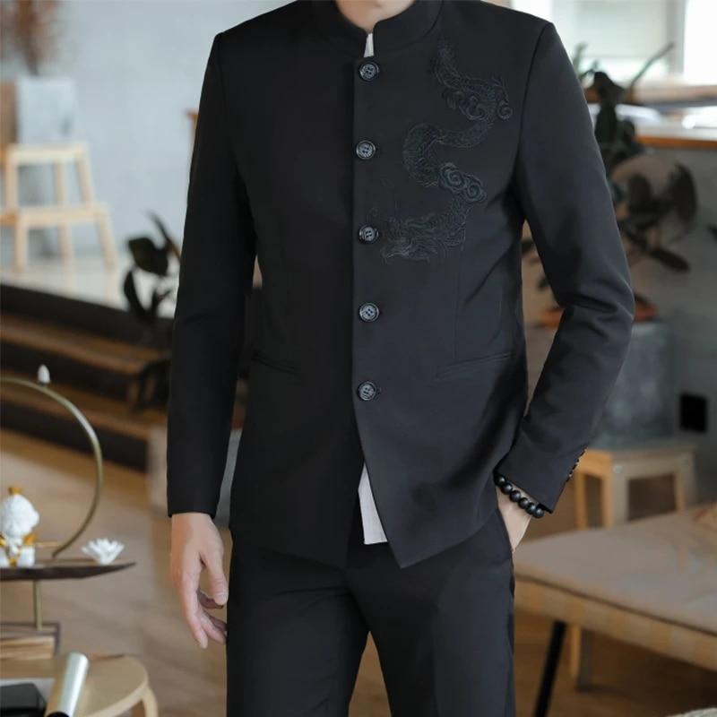 Cina Tunik Suit New 2019 Dragon Bordir Jas Pria 5XL Mandarin Kerah Jaket  Kung Fu Cina Mantel Hitam Setelan  - AliExpress