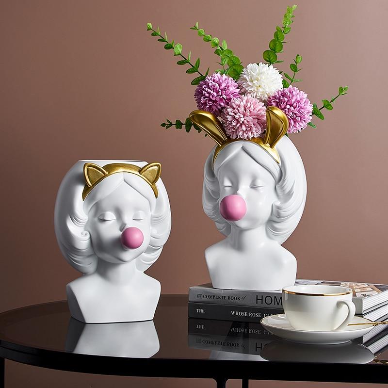 נורדי מודרני בית שרף אגרטל קישוט חמוד ילדה נושבת בועות דקורטיבי ראש גילוף פרח אגרטלי עט בעל אגרטל פרחים