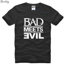 Eminem Bad Meets Evil rap rock Men's T-Shirt T Shirt For Men 2018 New Short Sleeve Cotton Casual Top Tee Camisetas Masculina(China)
