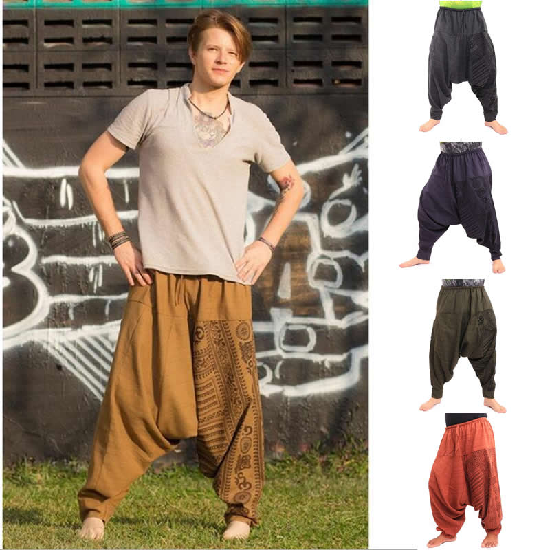 Men Hiphop Harem Pants Crotch Baggy Plus Size Boho Gypsy Aladdin Summer Bohemian Nepal Wide Leg Pants Trousers
