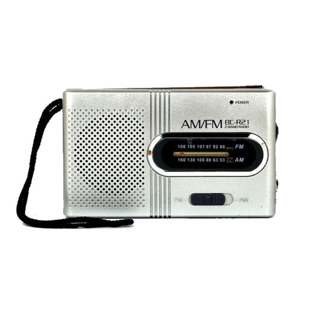 BC-R60 Mini Radio AM/FM Telescopic Antenna Pocket Receiver With Headphone Jack Manual Frequency Tuning And LED Lamp Assistance