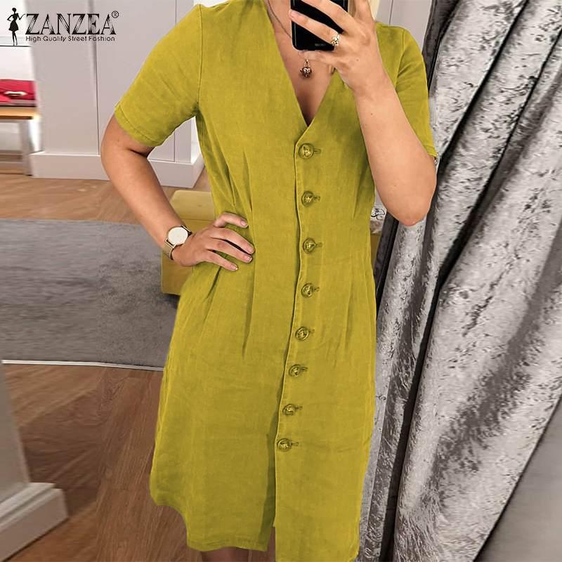 ZANZEA 2020 Fashion V-Neck Shirt Dress Women's Summer Sundress Casual Short Sleeve Slim Knee Length Vestido Plus Size Robe Femme