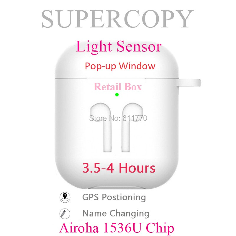 Supercopy Aire 2 Wireless Bluetooth Earphones Super Copy Headset Aroha 1536U Chip Best Quality So Far Rename + GPS Light Sensor