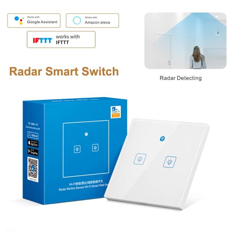 Умный WiFi настенный выключатель с датчиком движения радар ЕС 100-240 В EWeLink приложение Совместимо с Alexa Google Home Siri Home Automation