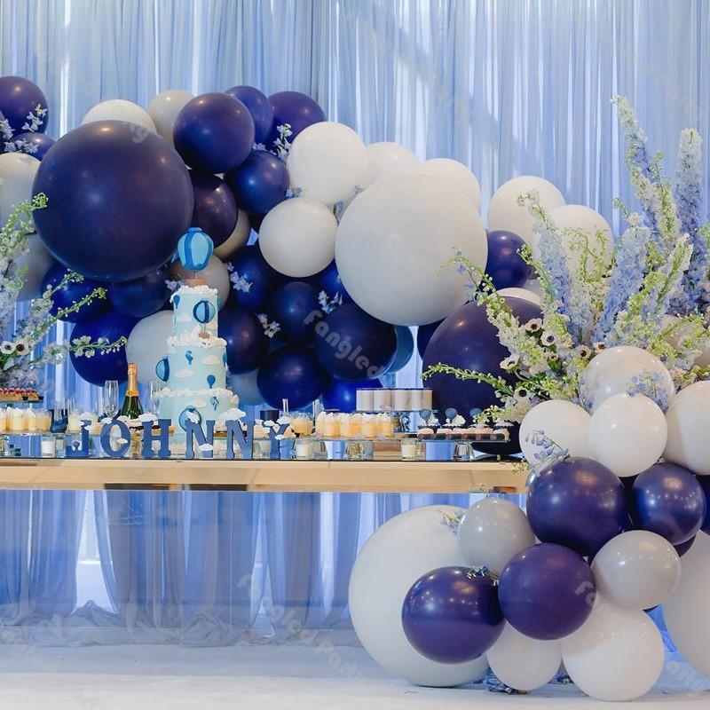 69pcs Matte Navy blue Balloon Garland Arch  White Gray Balloon Baby Shower Birthday Wedding Party Decoration Supplies