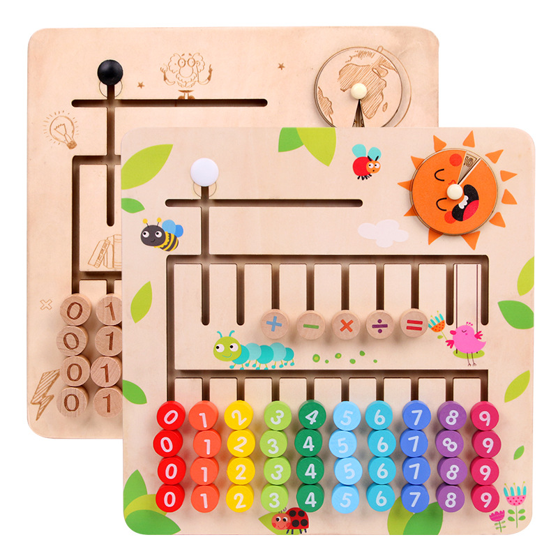 Young STUDENT'S Counting Mathematics Teaching Aids Kindergarten Early Childhood Wood Abacus Children'S Educational +/- Arithmeti