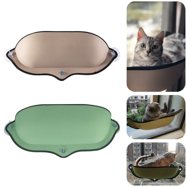 Cat Window Hammock Bed with Suction Cup Soft Kitty Hanging Sleeping Bed Basking Shelf Seat Pet Cat Rest House Bear Max 13kg