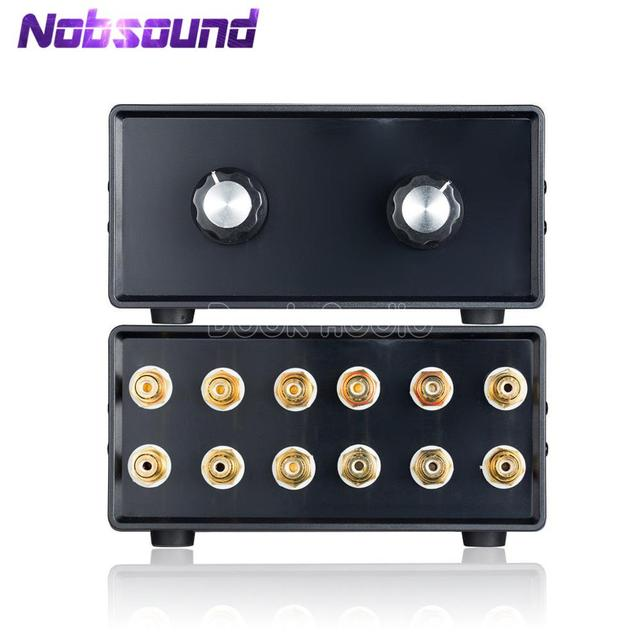 Nobsound mini hifi 스테레오 4 in 2 out rca 오디오 신호 분배기/스위처 선택기 패시브 프리 앰프